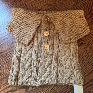 MICHAEL KORS CABLE KNIT SWEATER SCARF GOLD BUTTONS